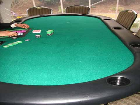 Poker table at a casino fundraiser in Tucson